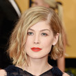Rosamund Pike's Angled Bob and Blood Orange Pucker