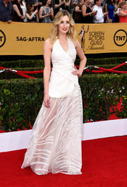 Laura Carmichael hit the SAG Awards red carpet in a white Vionnet sheer-skirt wrap gown that was equal parts modern, sexy, and edgy.