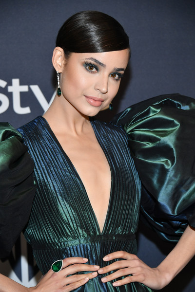 More Pics of Sofia Carson Gemstone Ring (1 of 3) - Sofia Carson Lookbook - StyleBistro [hair,hairstyle,fashion model,beauty,black hair,lip,fashion,dress,long hair,cocktail dress,sofia carson,beverly hills,california,the beverly hilton hotel,warner bros,instyle golden globe,instyle golden globe after party,arrivals,sofia carson,golden globe awards,descendants,party 01,party,beverly hills,celebrity,disney channel circle of stars,warner bros.]