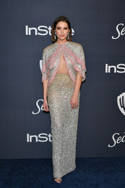 Ashley Benson looked absolutely fab in a heavily beaded cutout gown by Georges Hobeika Couture at the Warner Bros. and InStyle Golden Globes after-party.