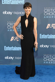 Constance Zimmer flashed a bit of cleavage in a black keyhole-cutout gown by John Paul Ataker at the Critics' Choice Awards.