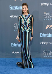 Allison Williams went for ultra-modern glamour in a multicolored geometric-beaded column dress by Balmain at the Critics' Choice Awards.