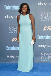 Viola Davis kept it minimal yet sophisticated in a sleeveless turquoise sequin gown by Michael Kors at the Critics' Choice Awards.
