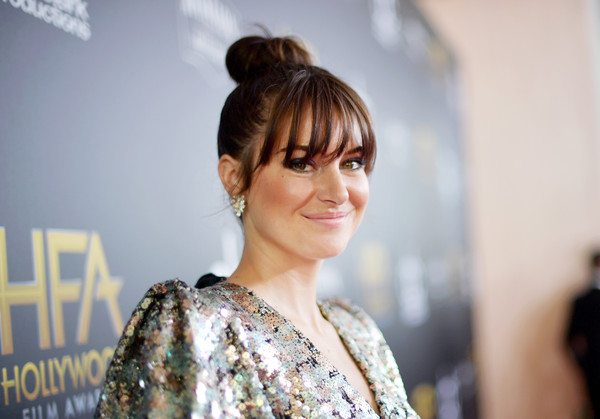 Shailene Woodley styled her hair into a high bun with eye-grazing bangs for the 2018 Hollywood Film Awards.