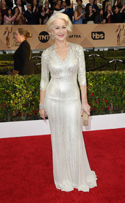 Helen Mirren brought major shimmer to the SAG Awards red carpet with this silver Jenny Packham gown featuring a gorgeous blend of beads and sequins.