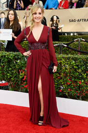 Joanne Froggatt donned a red Burberry gown with a deep-V neckline and a beaded midsection for her SAG Awards look.