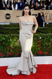 Sarah Silverman got all glammed up in a strapless taupe mermaid gown by Vivienne Westwood Couture for the SAG Awards.