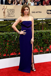 Sarah Hyland opted for a simple and classic strapless, lace-accented indigo dress by J. Mendel for her SAG Awards look.