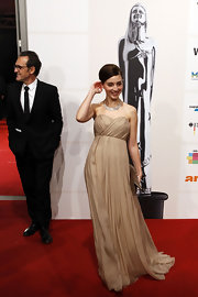 Maria Valverde looked beguiling at the European Film Awards in a glamorous nude strapless gown.
