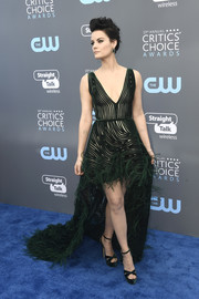 Jaimie Alexander got frilled up in a dark green Georges Chakra Couture gown with a high-low hem and feather embellishments for the 2018 Critics' Choice Awards.