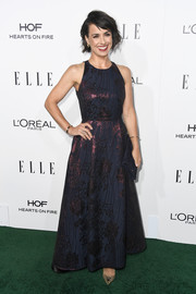Constance Zimmer kept it classy in an iridescent fit-and-flare gown by L.K.Bennett at the Elle Women in Hollywood Awards.