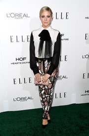 Brittany Snow donned a black-and-white pussybow blouse by Nicolas Jebran for the Elle Women in Hollywood Awards.