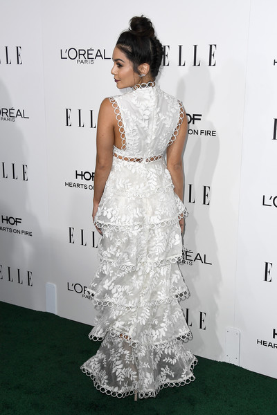 More Pics of Vanessa Hudgens Berry Lipstick (1 of 5) - Makeup Lookbook - StyleBistro [dress,hair,clothing,shoulder,gown,carpet,red carpet,hairstyle,fashion model,flooring,vanessa hudgens,arrivals,fashion detail,los angeles,four seasons hotel,california,beverly hills,elle women in hollywood awards,annual elle women in hollywood awards]