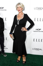 Black ankle-strap peep-toes finished off Helen Mirren's look.