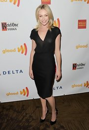 Portia de Rossi tucked her gauzy shirt into a pencil skirt to create this LBD effect.