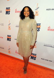 Garcelle Beauvais glistened in a beaded gold cocktail dress during the Race to Erase MS Gala.