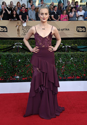 Taylor Schilling sported an ultra-feminine silhouette in this plum-colored ruffle gown by ADEAM at the SAG Awards.
