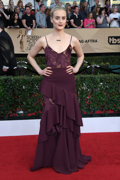 More Pics of Taylor Schilling Black Pearls (1 of 6) - Pearl Necklaces Lookbook - StyleBistro [red carpet,carpet,dress,clothing,gown,flooring,premiere,fashion,fashion model,event,arrivals,taylor schilling,screen actors guild awards,los angeles,california,the shrine auditorium]
