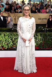 Meryl Streep arrived for the SAG Awards wearing a floaty white bird-print gown by Valentino.