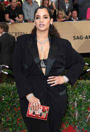 Dascha Polanco added some color to her black look with a gemstone box clutch when she attended the SAG Awards.