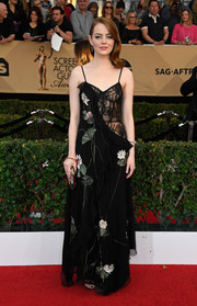 Emma Stone brought some sultry appeal to the the SAG Awards red carpet with this Alexander McQueen floral-embroidered gown with a sheer-illusion bodice.