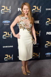 Miranda Otto chose a nude midi dress with a beaded bodice for the premiere of '24: Legacy.'