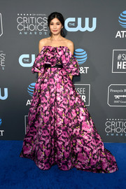 Gemma Chan looked magnificent in a purple floral ballgown by Jason Wu at the 2019 Critics' Choice Awards.