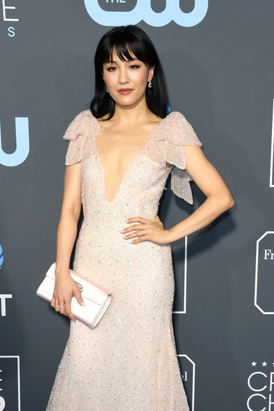 More Pics of Constance Wu Long Straight Cut with Bangs (4 of 5) - Constance Wu Lookbook - StyleBistro [clothing,dress,fashion model,shoulder,hairstyle,fashion,beauty,cocktail dress,lady,carpet,arrivals,constance wu,critics choice awards,santa monica,california,barker hangar]