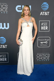 Emily Blunt looked divine in an embellished white cutout gown by Prada at the 2019 Critics' Choice Awards.