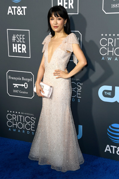 More Pics of Constance Wu Long Straight Cut with Bangs (5 of 5) - Constance Wu Lookbook - StyleBistro [dress,clothing,shoulder,red carpet,gown,carpet,fashion model,flooring,hairstyle,lady,arrivals,constance wu,critics choice awards,santa monica,california,barker hangar]