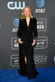 Patricia Clarkson looked downright elegant in a black Georges Chakra Couture tweed gown with embellished cuffs at the 2019 Critics' Choice Awards.
