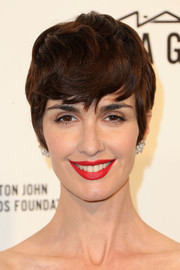 Paz Vega wore her short hair with emo bangs at the 2016 Elton John AIDS Foundation Oscar-viewing party.
