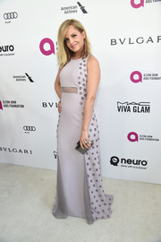 Mena Suvari chose a lilac Bibhu Mohapatra gown with beaded sides and peekaboo detailing for the Elton John AIDS Foundation Oscar viewing party.