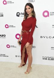 Emily Ratajkowski was red-hot in a body-con one-shoulder dress by Alexandre Vauthier at the Elton John AIDS Foundation Oscar viewing party.