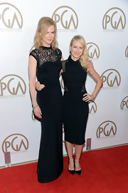 Nicole Kidman stuck to her tried and true column dress in this sleek black number at the PGAs.