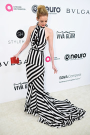 Lydia Hearst looked vibrant in a black-and-white striped halter gown by Tracy Reese at the Elton John AIDS Foundation Oscar-viewing party.