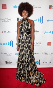 Naomi Campbell looked sassy in an animal-print halter gown by Gucci during the GLAAD Media Awards.
