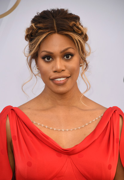 Laverne Cox looked romantic with her braided updo at the 2019 SAG Awards.