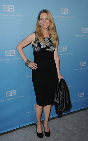 Laurelee Bell wore this black dress with a floral bodice to CBS' 'The Bold and the Beautiful' party.