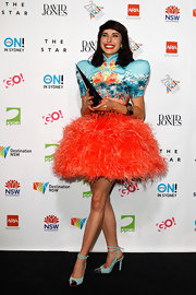 Kimbra posed for photos at the 2012 Aria awards in sky blue slingback heels with metal cap toes.