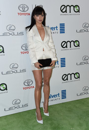 Francesca Eastwood paraded her cleavage and super-toned legs in a white short suit during the EMA Awards.