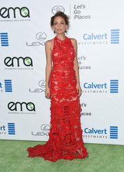Nicole Richie made a head-turning entrance in an embellished red halter gown by Elie Saab at the EMA Awards.