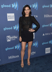 Jenna Dewan-Tatum paired her sexy frock with gold slim-strap sandals by Giuseppe Zanotti.