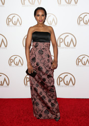Kerry Washington looked fab in a full-length gown with a lovely floral pattered skirt at the 26th Annual Producers Guild Of America Awards.