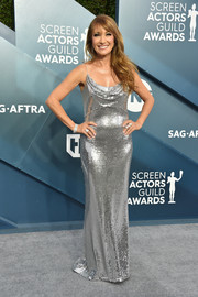 Jane Seymour dazzled in a silver sequined slip gown by SHO at the 2020 SAG Awards.