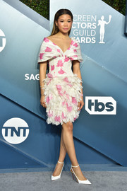 Storm Reid looked darling in a white and pink floral cocktail dress by Giambattista Valli at the 2020 SAG Awards.