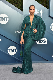 Amanda Brugel looked regal in an emerald sequined gown with draped sleeves at the 2020 SAG Awards.