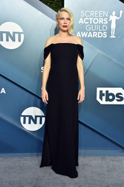 Michelle Williams kept it classic in a black off-the-shoulder gown by Louis Vuitton at the 2020 SAG Awards.