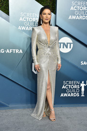 Catherine Zeta-Jones complemented her dress with strappy silver heels by Giuseppe Zanotti.