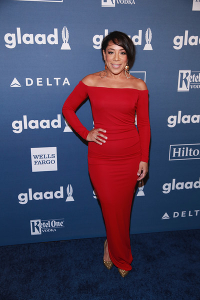 Selenis Leyva looked regal in a red off-the-shoulder column dress at the GLAAD Media Awards.